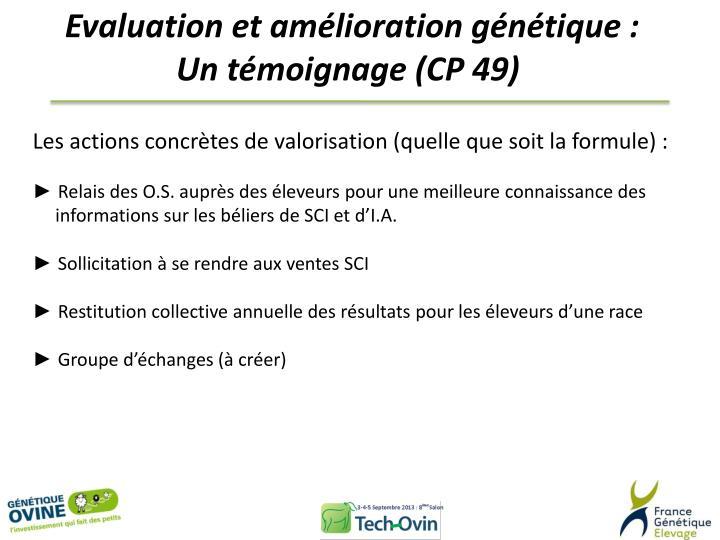 Evaluation et amélioration génétique :
