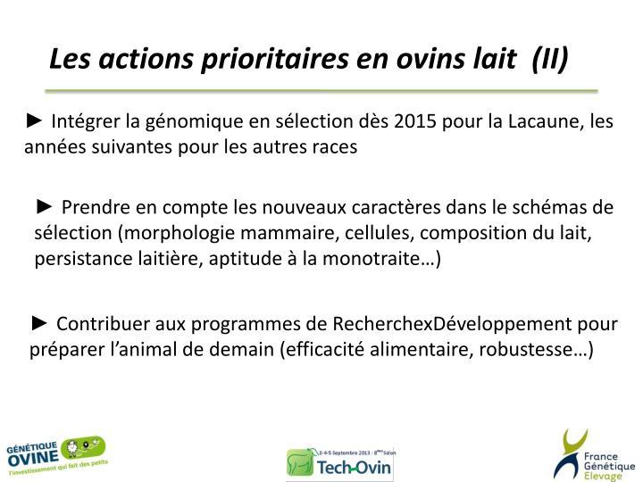 Les actions prioritaires en ovins lait  (II)
