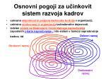 osnovni pogoji za u inkovit sistem razvoja kadrov