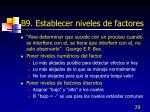 b9 establecer niveles de factores