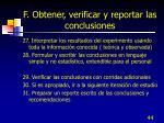 f obtener verificar y reportar las conclusiones