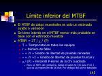 l mite inferior del mtbf