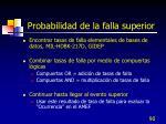 probabilidad de la falla superior