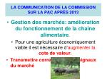 la communication de la commission sur la pac apr s 2013