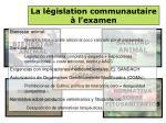 la l gislation communautaire l examen
