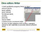 okno editoru writer