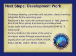 next steps development work