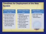 timelines for deployment of the new system
