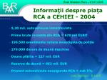informa ii despre pia a rca a cehiei 2004