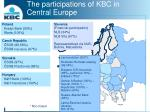 the participations of kbc in central europe