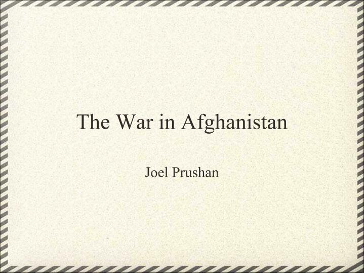 the war in afghanistan n.