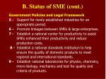 b status of sme cont