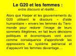 le g20 et les femmes entre discours et r alit
