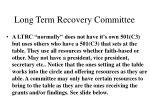 long term recovery committee