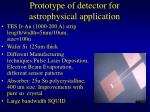 prototype of detector for astrophysical application