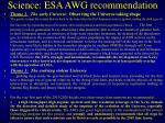 science esa awg recommendation