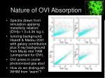 nature of ovi absorption