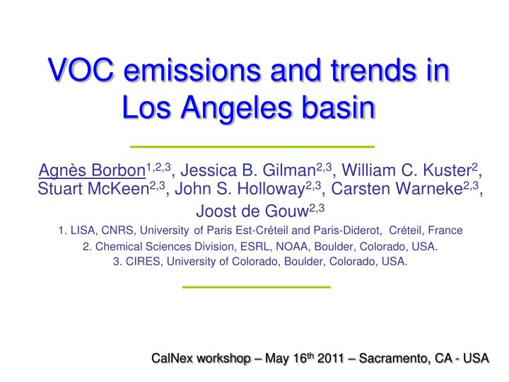 voc e missions and trends in los angeles basin n.