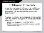 entitlement to records