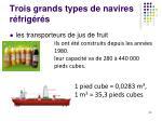 trois grands types de navires r frig r s1