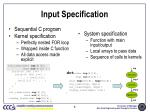 input specification