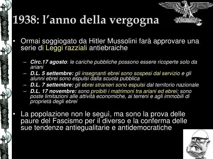 1938: l'anno della vergogna