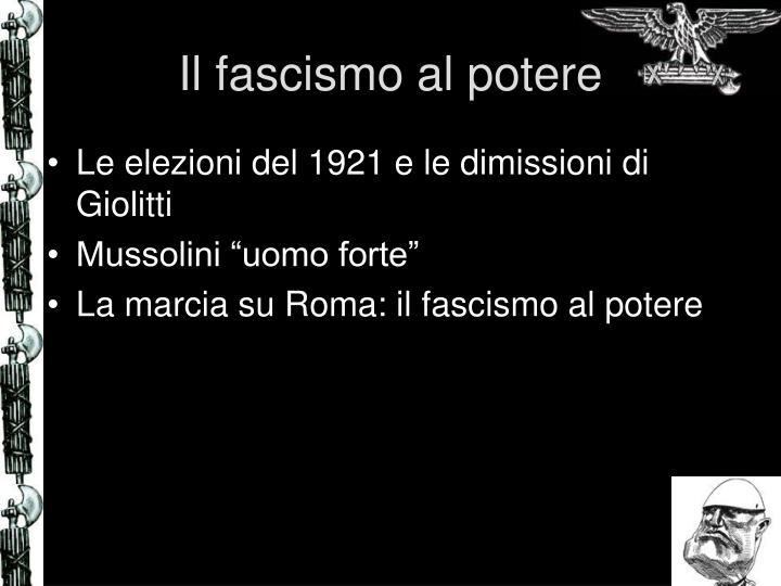 Il fascismo al potere
