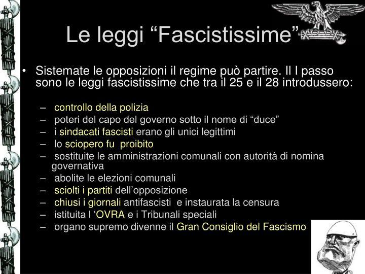 """Le leggi """"Fascistissime"""""""