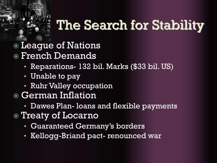 The search for stability