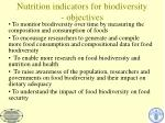 nutrition indicators for biodiversity objectives