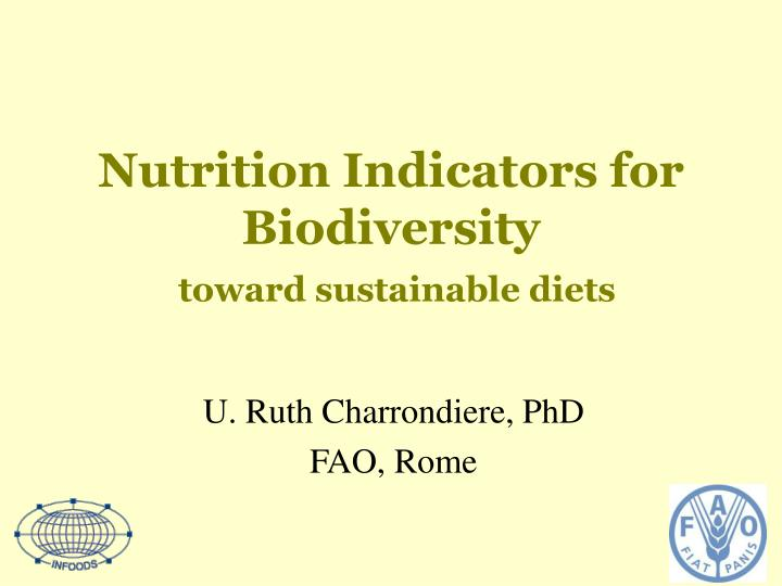 nutrition indicators for biodiversity toward sustainable diets n.
