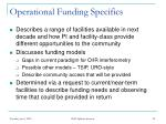 operational funding specifics