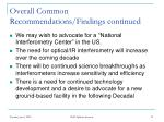 overall common recommendations findings continued