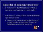 disorder of temperature fever