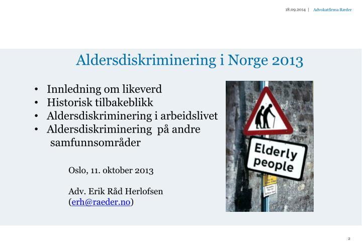 Aldersdiskriminering i norge 20131