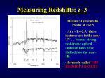 measuring redshifts z 3