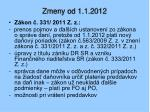 zmeny od 1 1 2012