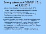 zmeny z konom 362 2011 z z od 1 12 2011