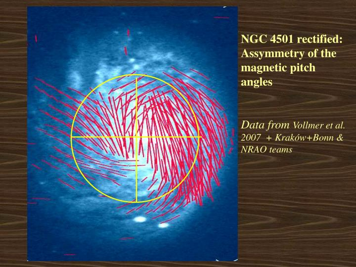 NGC 4501 rectified: Assymmetry of the magnetic pitch angles