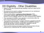 dd eligibility other disabilities