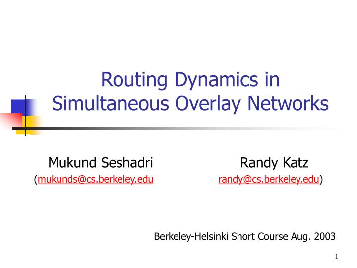 routing dynamics in simultaneous overlay networks n.