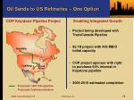 oil sands to us refineries one option