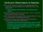 continuum observations of galaxies