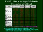 far ir lines from high z galaxies detectable with ccat