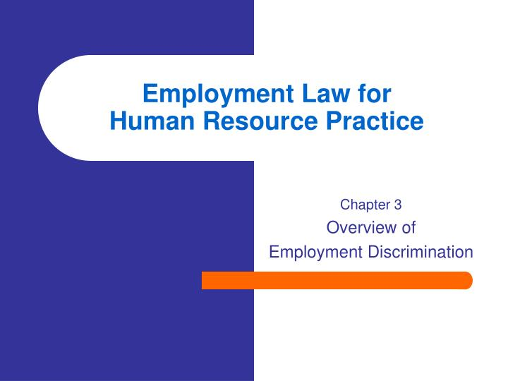 employment law for human resource practice n.