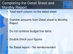 completing the detail sheet and monthly report