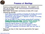 presence at meetings