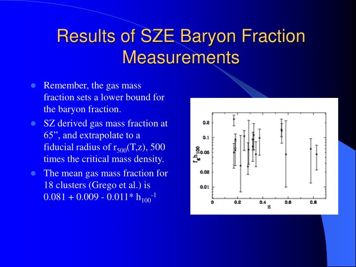Results of SZE Baryon Fraction Measurements