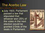 the acerbo law