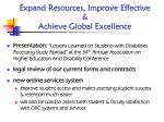 expand resources improve effective achieve global excellence